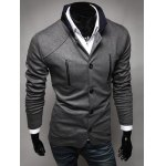 cheap Stylish Stand Collar Slimming Color Splicing Pocket Design Long Sleeve Polyester Blazer For Men