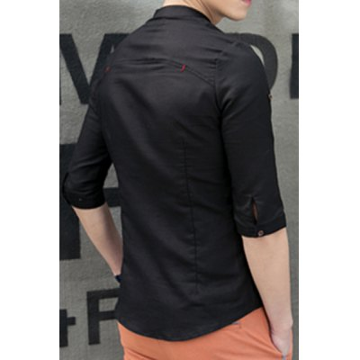 Фотография Fashion Stand Collar Slimming Splicing and Sutures Design 3/4 Sleeve Linen Blend Shirt For Men