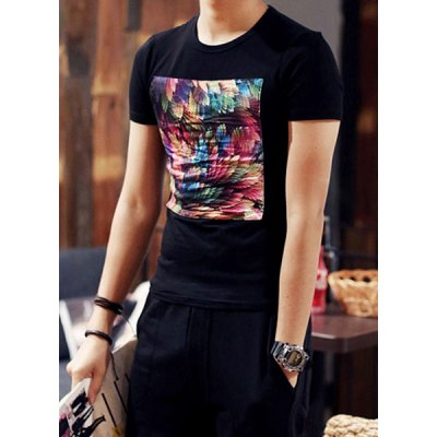 Гаджет   Slimming Round Neck Colorized Peacock Feathers Print Splicing Short Sleeves Men