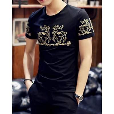 Гаджет   Slimming Round Neck Ethnic Pattern Embroidery Solid Color Short Sleeves Men