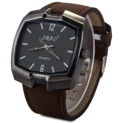 Sbao Rectangel Dial Nubuck Leather Band Male Quartz Watch