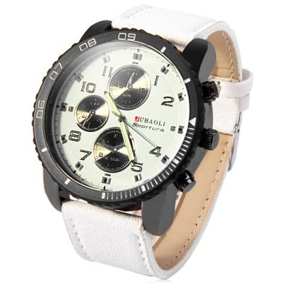 Jubaoli Rotatable Bezel Male Watch Quartz Leather Strap WristwatchMens Watches<br>Jubaoli Rotatable Bezel Male Watch Quartz Leather Strap Wristwatch<br><br>Brand: Jubaoli<br>Watches categories: Male table<br>Watch style: Fashion<br>Available color: White, Red, Blue, Black<br>Movement type: Quartz watch<br>Shape of the dial: Round<br>Display type: Analog<br>Case material: Alloy<br>Band material: Leather<br>Clasp type: Pin buckle<br>Special features: Decorating small sub-dials<br>The dial thickness: 1.3 cm / 0.51 inches<br>The dial diameter: 5.0 cm / 1.97 inches<br>The band width: 2.4 cm / 0.94 inches<br>Product weight: 0.080 kg<br>Package weight: 0.13 kg<br>Product size (L x W x H): 26.4 x 5 x 1.3 cm / 10.38 x 1.97 x 0.51 inches<br>Package size (L x W x H): 27.4 x 6 x 2.3 cm / 10.77 x 2.36 x 0.90 inches<br>Package Contents: 1 x Jubaoli Watch