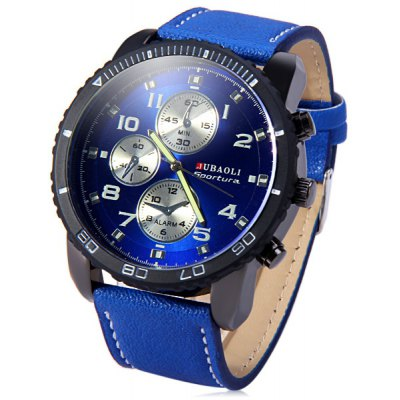 Jubaoli Rotatable Bezel Male Watch Quartz Leather Strap Wristwatch