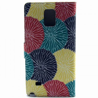 Гаджет   Stand Design Contrast Color Circle Pattern PU Leather Phone Cover Case with Card Holder for Samsung Galaxy Note 4 N9100 Samsung Cases/Covers