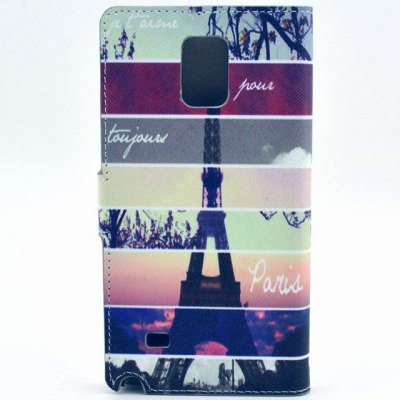 Гаджет   Stand Design Eiffel Tower Pattern PU Leather Phone Cover Case with Card Holder for Samsung Galaxy Note 4 N9100 Samsung Cases/Covers
