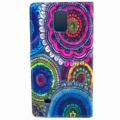 ФОТО Stand Design Colorful Flowers Pattern PU Leather Phone Cover Case with Card Holder for Samsung Galaxy Note 4 N9100