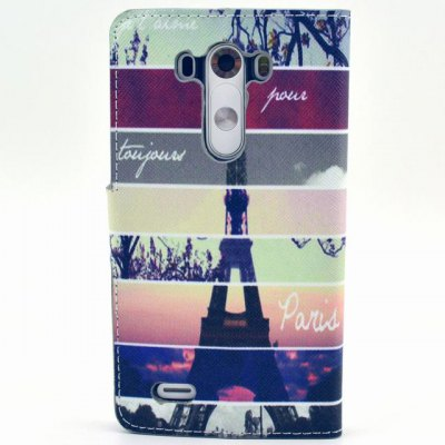 ФОТО Stand Design Eiffel Tower Pattern PU Leather Phone Cover Case with Card Holder for LG G3