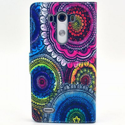 ФОТО Stand Design Colorful Flowers Pattern PU Leather Phone Cover Case with Card Holder for LG G3