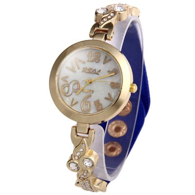 RSOL Female Wacky Scales Quartz Watch with Diamond Leather + Steel Band
