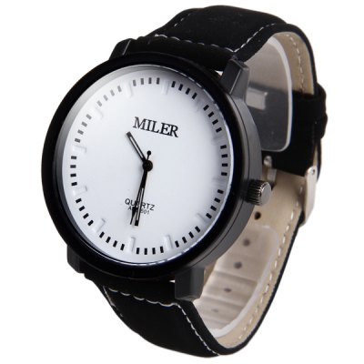 Miler A828501 Analog Quartz Watch with Nubuck Leather Strap for Men