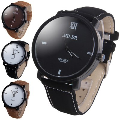 Miler A828502 Contracted Wristwatch Nubuck Leather Strap Male Quartz WatchMens Watches<br>Miler A828502 Contracted Wristwatch Nubuck Leather Strap Male Quartz Watch<br><br>Brand: Miler<br>Watches categories: Male table<br>Watch style: Fashion<br>Available color: White, Black, Brown, Black and White<br>Movement type: Quartz watch<br>Shape of the dial: Round<br>Display type: Analog<br>Case material: Stainless steel<br>Band material: Leather<br>Clasp type: Pin buckle<br>The dial thickness: 1.0 cm / 0.39 inches<br>The dial diameter: 4.5 cm / 1.77 inches<br>The band width: 2.0 cm / 0.79 inches<br>Product weight: 0.049 kg<br>Package weight: 0.099 kg<br>Product size (L x W x H): 24.7 x 4.5 x 1 cm / 9.71 x 1.77 x 0.39 inches<br>Package size (L x W x H): 25.7 x 5.5 x 2 cm / 10.10 x 2.16 x 0.79 inches<br>Package Contents: 1 x Miler A828502 Watch
