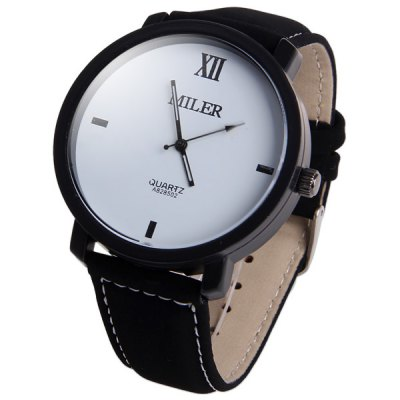 Miler A828502 Analog Wristwatch Nubuck Leather Strap Male Quartz Watch