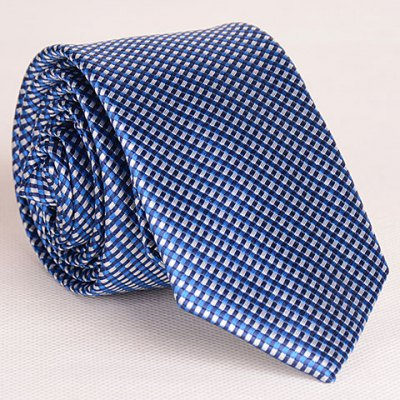 Full Tiny Blue Grid Pattern Neck Tie