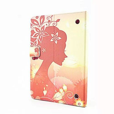 ФОТО Flower Girl Pattern Inlaid Diamond PU Leather Case with Stand Function for Samsung Galaxy Tab S T800