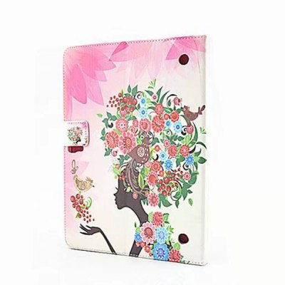ФОТО Flower Girl Design Inlaid Diamond PU Leather Case with Stand Function for Samsung Galaxy Tab S T800