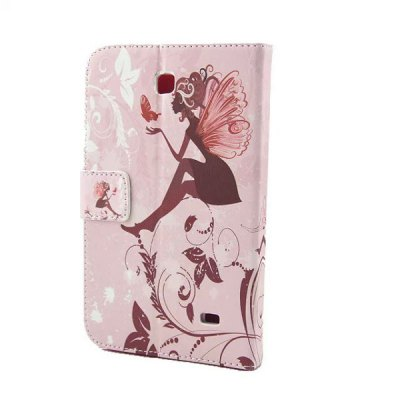 ФОТО Inlaid Diamond PU Leather Case Butterfly Wings Girl Design for Samsung Galaxy Tab 4 T230
