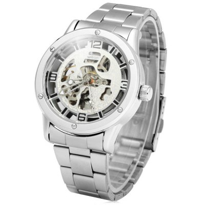 ФОТО Wilon Transparent Dial Automatic Mechanical Watch Men Hollow - out Style Wristwatch