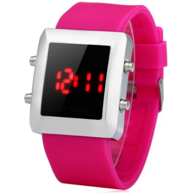 LED Wristwatch Red Subtitle Rubber Band Watch