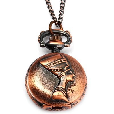 Гаджет   Retro Human Head Design Chain Necklace Flip Pocket Quartz Watch