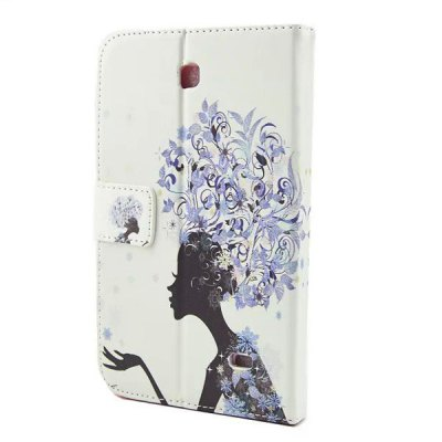 ФОТО Flower Girl Design Inlaid Diamond PU Leather Case with Stand Function for Samsung Galaxy Tab 4 T230