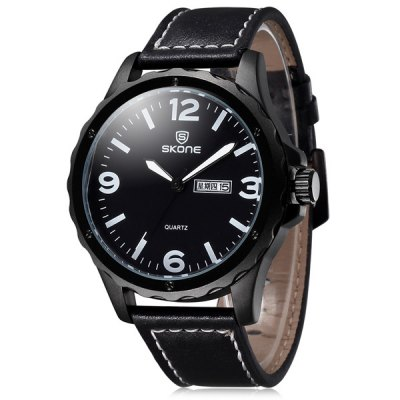Skone 5055 Day Date Function Male Japan Quartz Watch PU Leather Strap