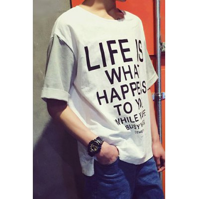 Гаджет   Loose-Fitting Round Neck Letters Print Fabric Splicing Color Block Short Sleeves Men