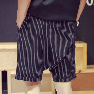 Гаджет   Casual Loose Fit Lace-Up Stripes Print Crimping Straight Leg Men