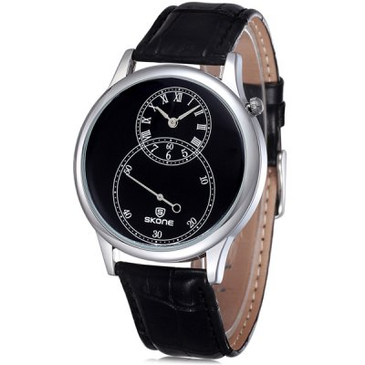 Skone 5064 Functional Sub-dial PU Band Male Japan Quartz Watch