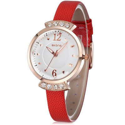 Skone 5060 Diamond Quartz Watch with Luminous Pointers PU Strap for WomenWomens Watches<br>Skone 5060 Diamond Quartz Watch with Luminous Pointers PU Strap for Women<br><br>Brand: Skone<br>Watches categories: Female table<br>Available color: White, Red, Orange, Coffee<br>Style : Fashion&amp;Casual<br>Movement type: Quartz watch<br>Shape of the dial: Round<br>Display type: Analog<br>Case material: Alloy<br>Band material: PU<br>Clasp type: Pin buckle<br>The dial thickness: 1.0 cm / 0.39 inches<br>The dial diameter: 3.4 cm / 1.34 inches<br>The band width: 1.0 cm / 0.39 inches<br>Product weight: 0.029 kg<br>Package weight: 0.079 kg<br>Product size (L x W x H) : 21.5 x 3.4 x 1 cm / 8.45 x 1.34 x 0.39 inches<br>Package size (L x W x H): 22.5 x 4.4 x 2 cm / 8.84 x 1.73 x 0.79 inches<br>Package contents: 1 x Skone 5060 Watch