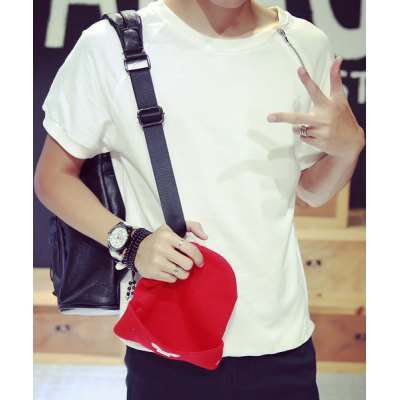 Гаджет   Fashion Loose Fit Round Neck Inclined Zipper Design Solid Color Short Sleeves Men