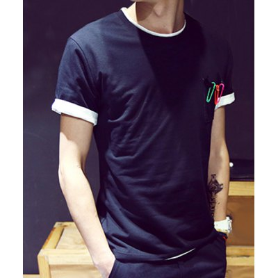 Гаджет   Laconic Slimming Round Neck Colorized Safety-Pin Embellished Short Sleeves Men