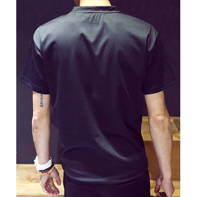 Гаджет   Simple Loose-Fitting Round Neck Letters Print Solid Color Short Sleeves Men