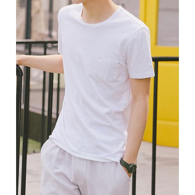 Гаджет   Trendy Loose Fit Round Neck Personality Fabric Splicing Short Sleeves Men