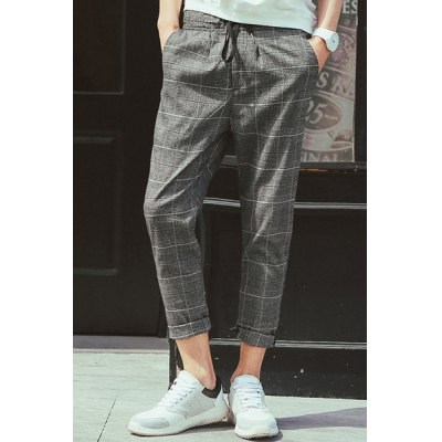 Гаджет   Loose-Fitting Lace-Up Classic Checked Print Straight Leg Men