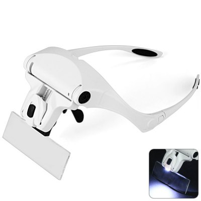 5 Lens 1.0X / 1.5X / 2.0X / 2.5X / 3.5X Eyeglasses Design Magnifier with 2 LED Lights