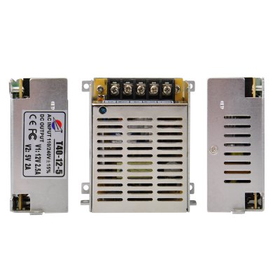 Гаджет   T40 - 12 - 5 12V / 2.5A to 5V / 2A Switch Power Supply Driver 40W for LED Light and Surveillance Security Camera ( 110  -  220V ) Other Accessories