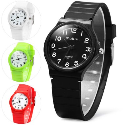 Womage 1307 - 1 Simple Quartz Watch with Rubber Band for ChildrenKids Watches<br>Womage 1307 - 1 Simple Quartz Watch with Rubber Band for Children<br><br>Brand: Womage<br>Watches categories: Children watch<br>Watch style: Fashion<br>Available Color: Green, Black, White, Red<br>Movement type: Quartz watch<br>Shape of the dial: Round<br>Display type: Analog<br>Case material: Alloys<br>Band material: Rubber<br>Clasp type: Pin buckle<br>The dial thickness: 0.7 cm / 0.28 inches<br>The dial diameter: 3.4 cm / 1.34 inches<br>The band width: 1.8 cm / 0.71 inches<br>Product weight: 0.019 kg<br>Package weight: 0.069 kg<br>Product size (L x W x H) : 23.2 x 3.4 x 0.7 cm / 9.12 x 1.34 x 0.28 inches<br>Package size (L x W x H): 24.2 x 4.4 x 1.7 cm / 9.51 x 1.73 x 0.67 inches<br>Package contents: 1 x Womage 1307-1 Watch