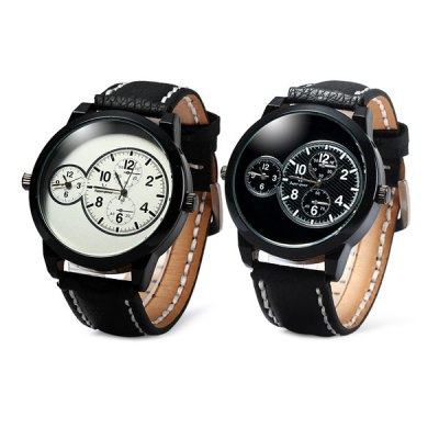 V6 V0171 Double Time Male Quartz Watch with Decorative Sub - dialsMens Watches<br>V6 V0171 Double Time Male Quartz Watch with Decorative Sub - dials<br><br>Brand: V6 Super Speed<br>Watches categories: Male table<br>Watch style: Business<br>Available color: Black, White<br>Movement type: Double-movtz<br>Shape of the dial: Round<br>Display type: Analog<br>Case material: Alloy<br>Band material: Leather<br>Clasp type: Pin buckle<br>Special features: Decorating small sub-dials<br>The dial thickness: 1.2 cm / 0.47 inches<br>The dial diameter: 5.0 cm / 1.97 inches<br>The band width: 2.4 cm / 0.94 inches<br>Product weight: 0.076 kg<br>Package weight: 0.126 kg<br>Product size (L x W x H): 27 x 5 x 1.2 cm / 10.61 x 1.97 x 0.47 inches<br>Package size (L x W x H): 28 x 6 x 2.2 cm / 11.00 x 2.36 x 0.86 inches<br>Package Contents: 1 x V6 V0171 Watch