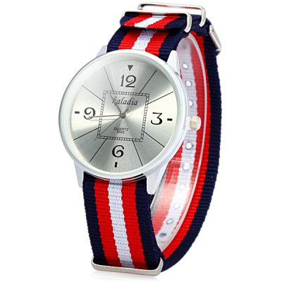 ФОТО Kaladia 8923 Unisex Quartz Watch with Colorful Stripes Canvas Band