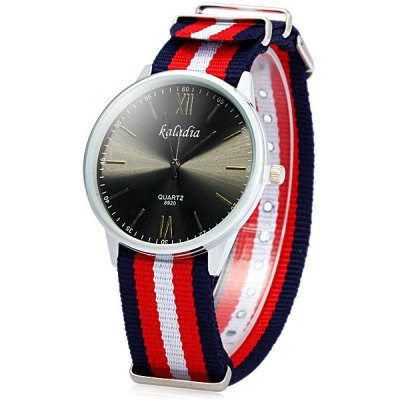 ФОТО Kaladia 8920 Unisex Quartz Watch with Colorful Stripes Canvas Band