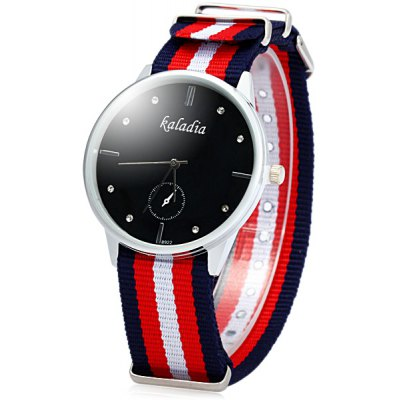 Kaladia 8922 Stripes Canvas Band Unisex Diamond Quartz Watch
