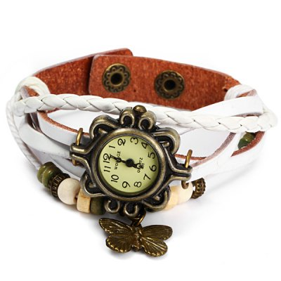 Womage 695 Vintage Style Weave Wrap around Leather Band Female Quartz Watch with Butterfly Pendant