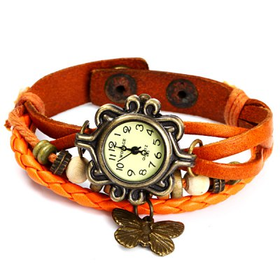 Womage 695 Vintage Style Weave Wrap around Leather Band Female Quartz Watch with Butterfly PendantWomens Watches<br>Womage 695 Vintage Style Weave Wrap around Leather Band Female Quartz Watch with Butterfly Pendant<br><br>Watches categories: Female table<br>Available color: White, Brown, Orange, Black<br>Style : Retro, Fashion&amp;Casual<br>Movement type: Quartz watch<br>Shape of the dial: Round<br>Display type: Analog<br>Case material: Stainless steel<br>Case color: Coppery<br>Band material: Leather<br>Clasp type: Buckle<br>The dial thickness: 0.8 cm / 0.31 inches<br>The dial diameter: 2.5 cm / 0.98 inches<br>Product weight: 0.022 kg<br>Package weight: 0.072 kg<br>Product size (L x W x H) : 20.8 x 2.5 x 1 cm / 8.17 x 0.98 x 0.39 inches<br>Package size (L x W x H): 21.8 x 3.5 x 2 cm / 8.57 x 1.38 x 0.79 inches<br>Package contents: 1 x Womage 695 Watch
