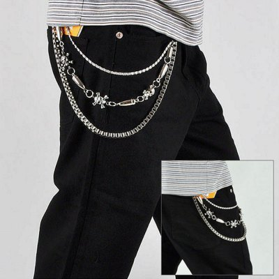 Skull Stitching Bullet Design Trousers Chain