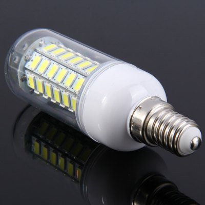 E14 9W 60 SMD 5730 800Lm Dimming LED Corn Light ( Pure White AC 85  -  265V )LED Light Bulbs<br>E14 9W 60 SMD 5730 800Lm Dimming LED Corn Light ( Pure White AC 85  -  265V )<br><br>Base Type: E14<br>Type: Corn Bulbs<br>Output Power: 9W<br>Emitter Type: SMD-5730 LED<br>Total Emitters: 60<br>Actual Lumen(s): 800Lm<br>Wavelength/Color Temperature: 6000-6500K, 3000-3500K<br>Voltage (V): AC85-265<br>Appearance: Transparent cover<br>Features: Dimmable, Long Life Expectancy, Low Power Consumption, Energy Saving<br>Function: Studio and Exhibition Lighting, Commercial Lighting, Home Lighting<br>Available Light Color: Cold White, Warm White<br>Sheathing Material: Plastic<br>Product Weight: 0.034 kg<br>Package Weight: 0.06 kg<br>Product Size (L x W x H): 9.7 x 3 x 3 cm / 3.81 x 1.18 x 1.18 inches<br>Package Size (L x W x H): 11 x 4 x 4 cm / 4.32 x 1.57 x 1.57 inches<br>Package Contents: 1 x LED Corn Bulb