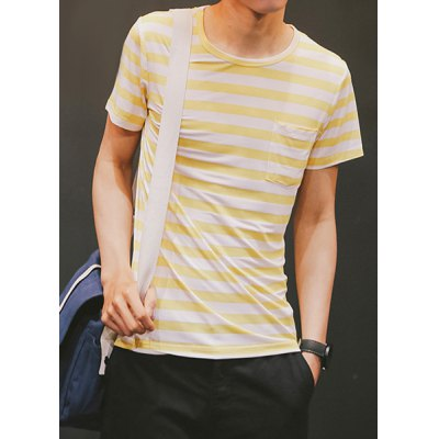 ФОТО Fashion Round Neck Slimming Color Block Stripes Short Sleeve Cotton Blend T-Shirt For Men