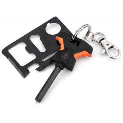 Magnesium Fire Starter and Knife Saber Card