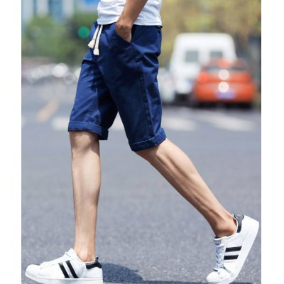 Гаджет   Laconic Slimming Lace-Up Crimping Solid Color Straight Leg Men