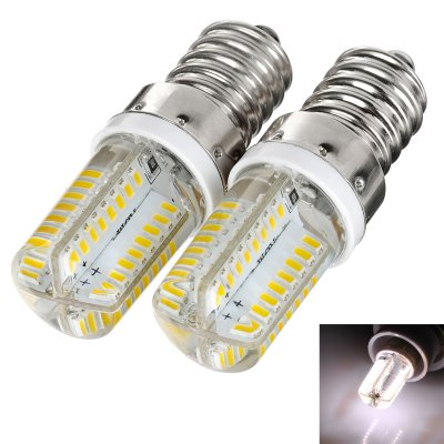 Pair of 200LM E14 3W 64 SMD 3014 LEDs Silicone Corn Light ( Soft White 220V )