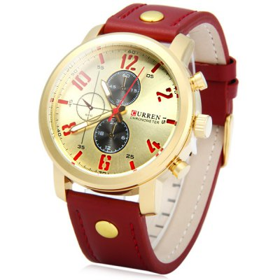 Curren 8192 Male Quartz Watch with Decorative Sub - dials Leather Band